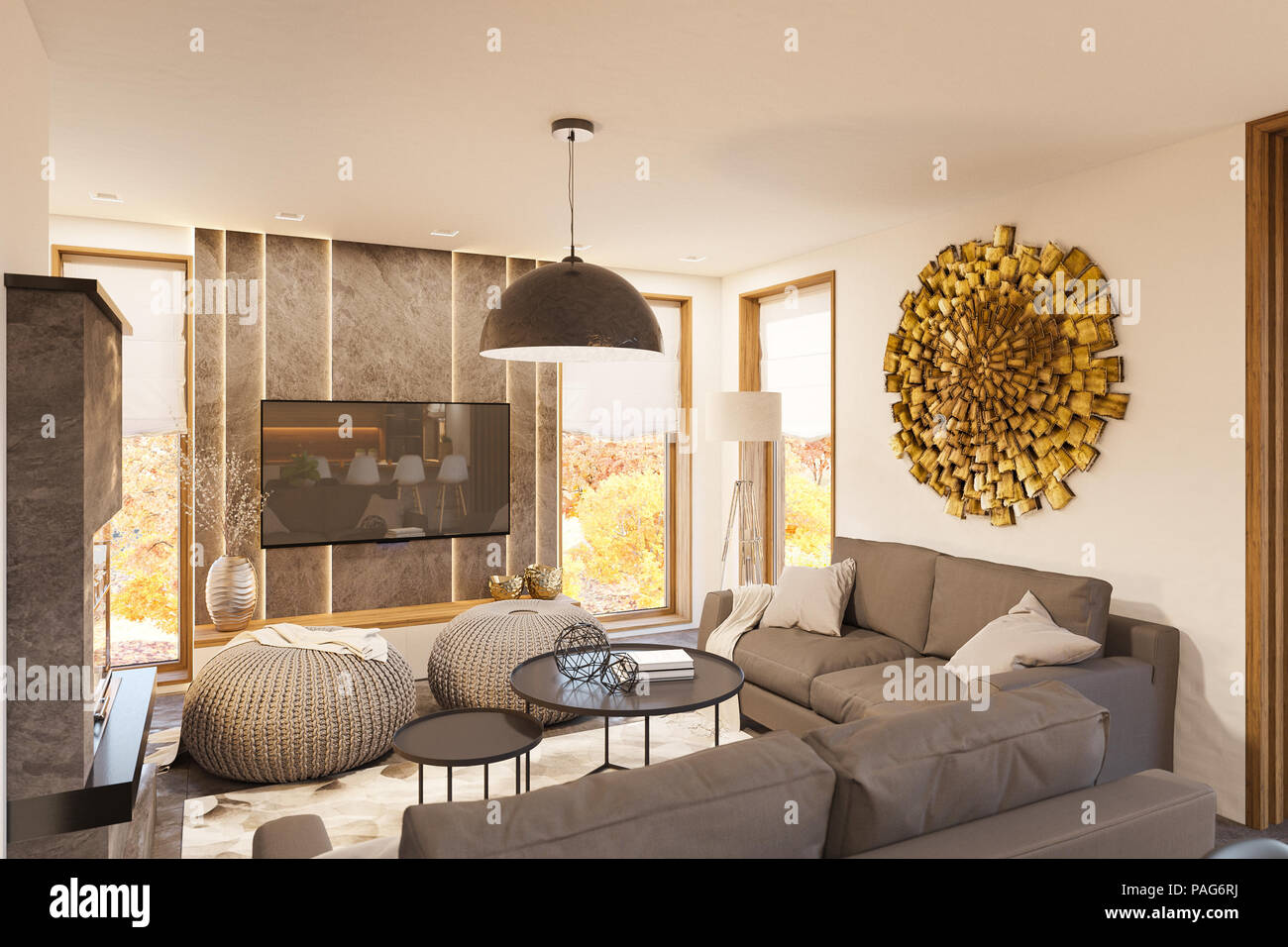 3d Render Modern Living Room Interior Design With Fireplace Stock