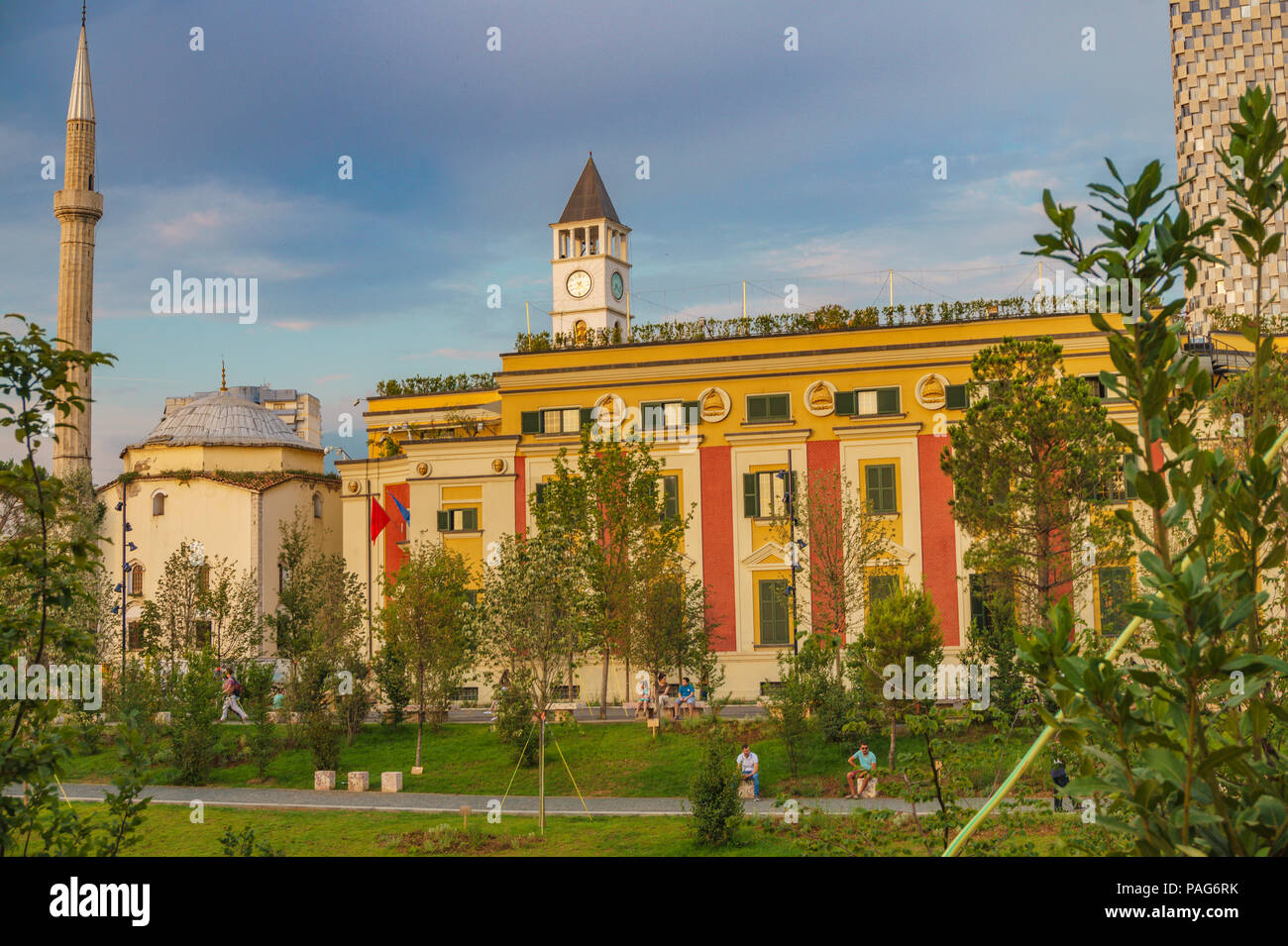 The City Hall of Tirana, Albania located in the Skanderbeg Square. Tirana is the capital of Albania - Stock Image