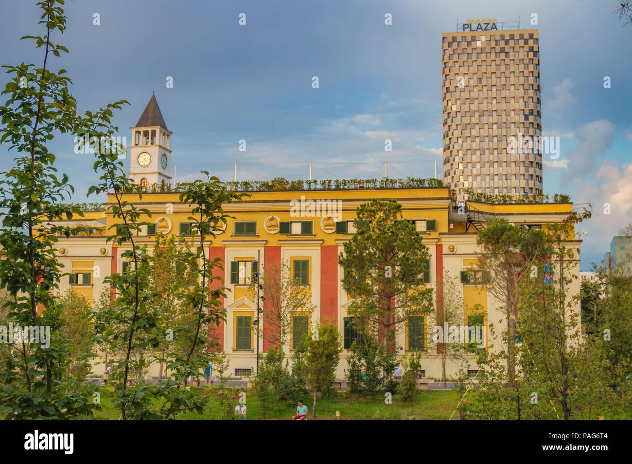 The City Hall of Tirana, Albania located in the Skanderbeg Square. Tirana is the capital of Albania - Stock Image