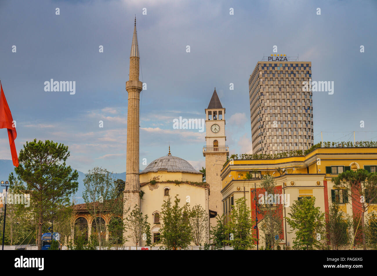 The Ethem Bey Mosque in Skanderbeg Square in the center of Tirana, Albania. - Stock Image