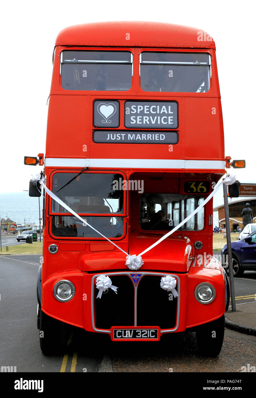 wedding, transport, red London bus, vintage 1965 - Stock Image