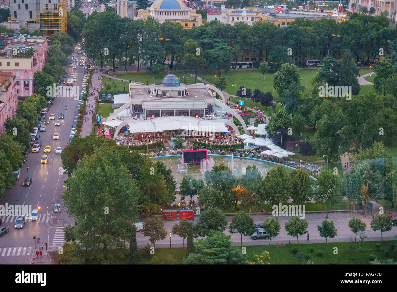 Areal cityscape view of Tirana city center at sunset. Modern Architectural buildings and urban photography in Tirana, the capital of Albania. - Stock Image