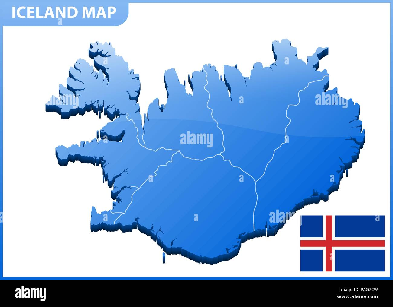 Highly detailed three dimensional map of Iceland with regions border ...