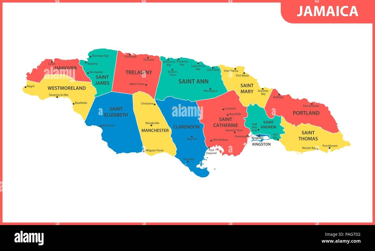 The detailed map of Jamaica with regions or states and cities, capital. Administrative division. Stock Vector