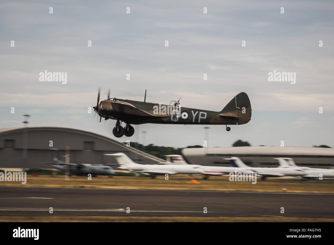 The Bristol Aeroplane company Bristol Blenheim display in Farnborough international Airshow 2018. - Stock Image