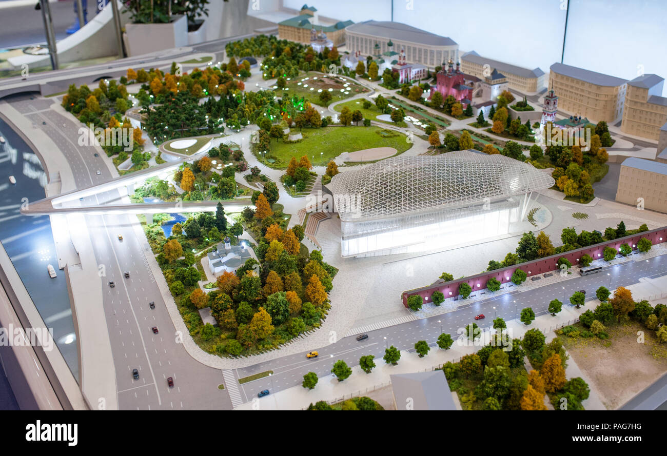 """MOSCOW, RUSSIA - July, 06, 2017 Model of the park """"Zaryadie"""", which is planned to be built in 2018 in Moscow. Stock Photo"""
