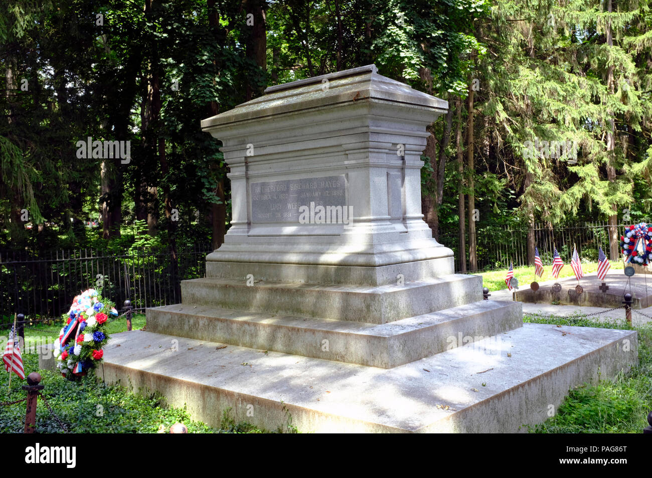Grave of President Rutherford B Hayes and First Lady Lucy Webb Hayes, Spiegel Grove, Fremont, Ohio - Stock Image