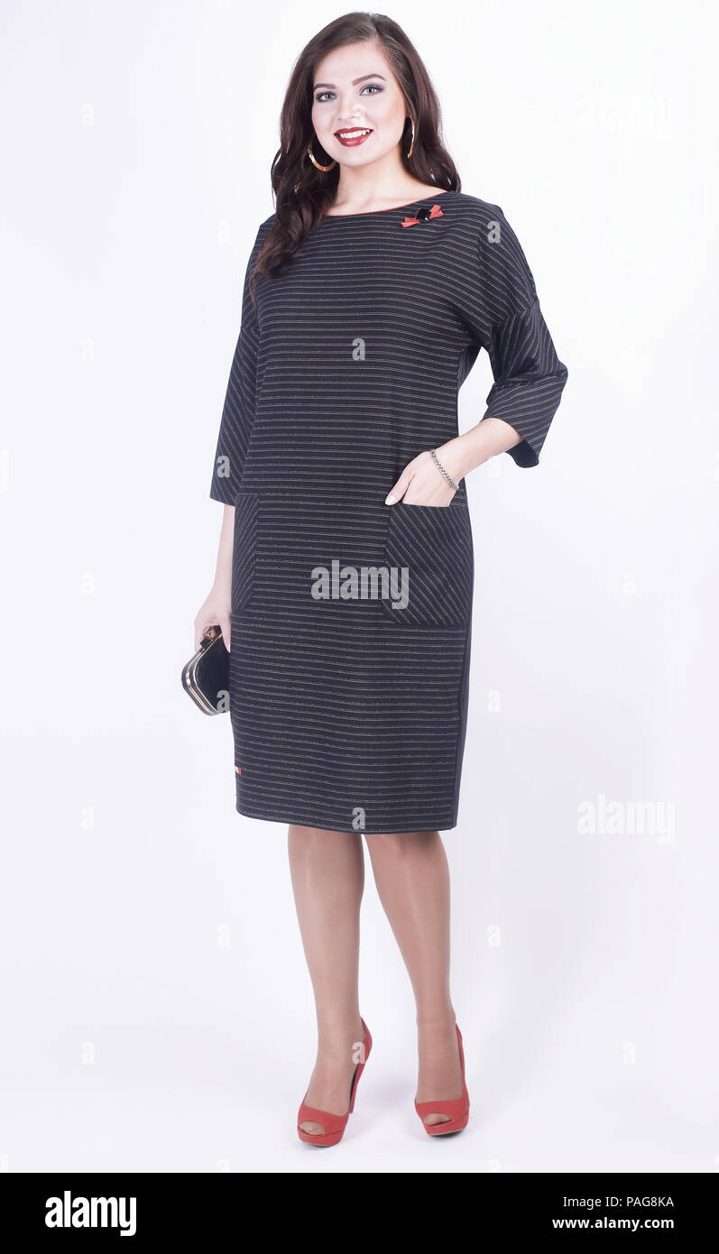 a1a8f4bc04b portrait of modern business woman in casual dress .plus size. - Stock Image