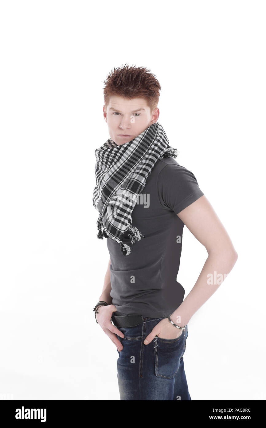 side view.stylish modern guy with the scarf. - Stock Image