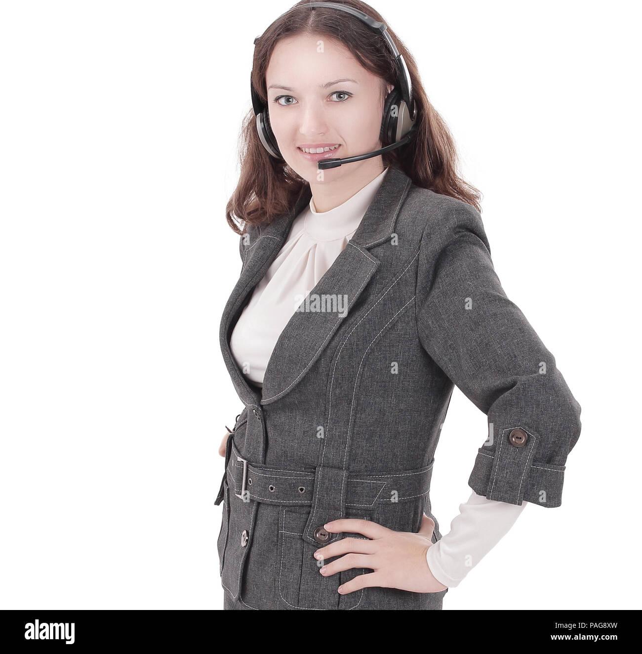 closeup.portrait of an employee call center.i Stock Photo