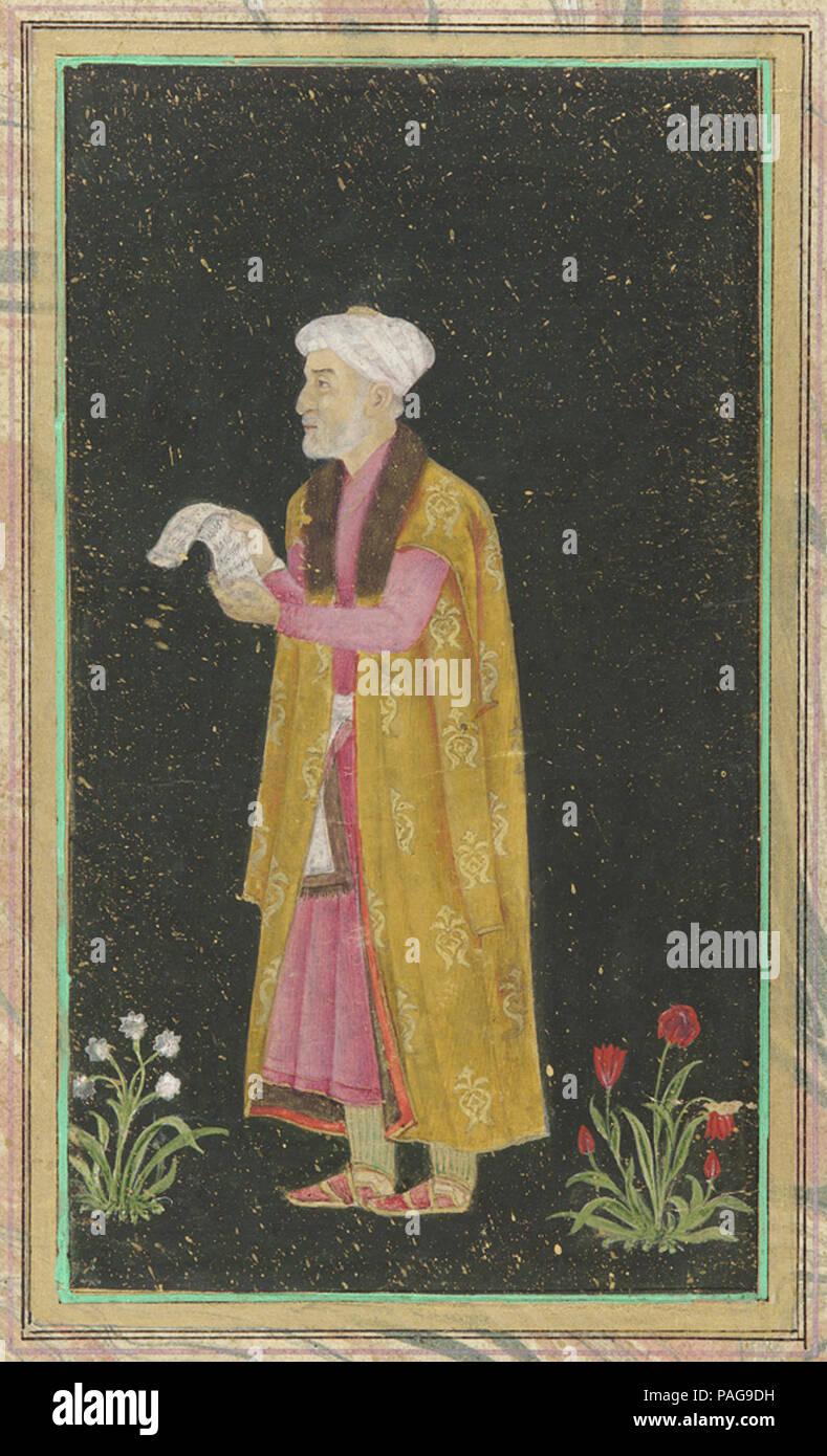 A portrait of Mirza Ghiyas Beg aka 'I'timād-ud-Daulah', 18th century.. Stock Photo