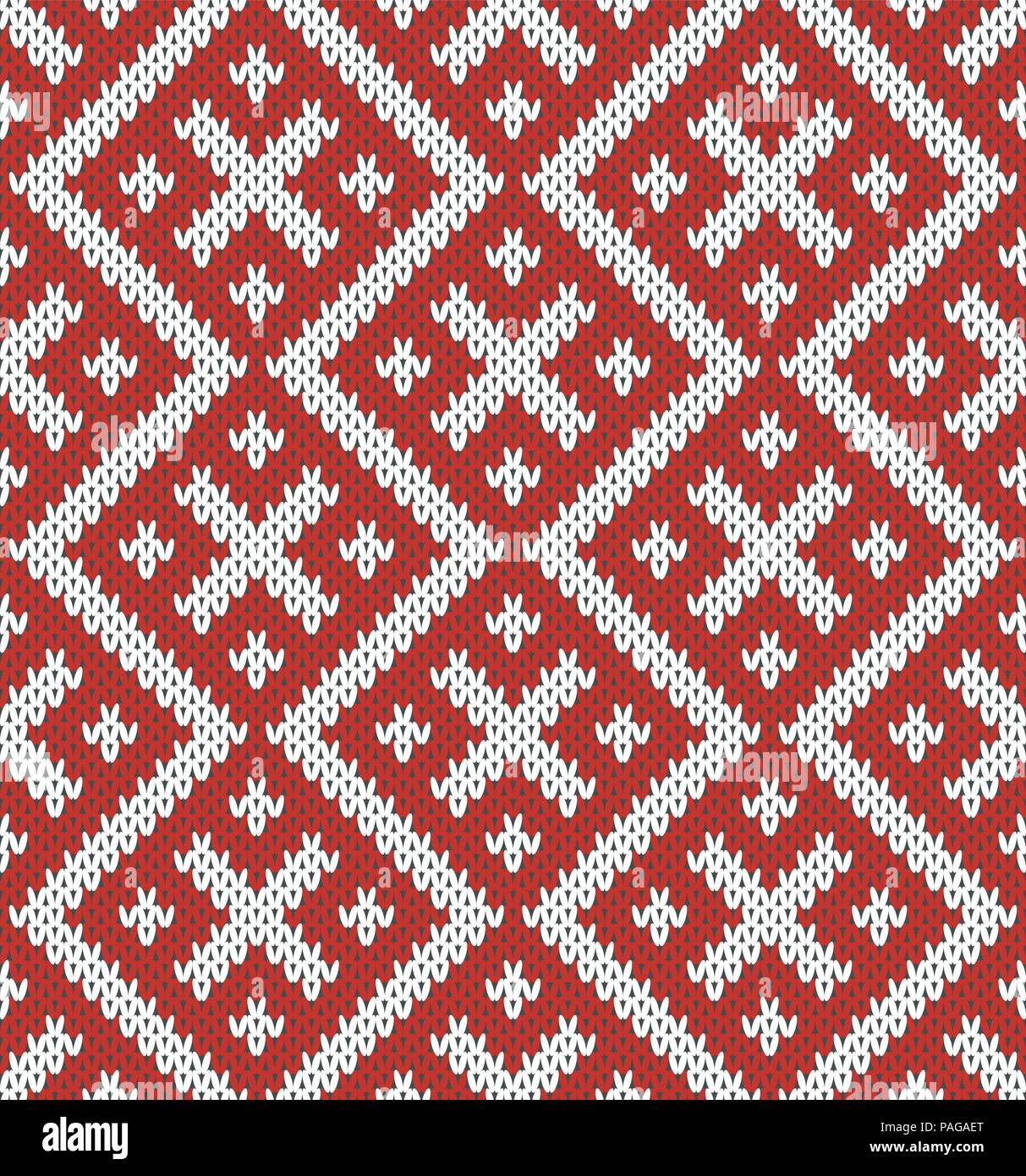 Seamless Knitting Pattern.Based on traditional Russian.Red and white.Wool Knit Texture Imitation. - Stock Vector