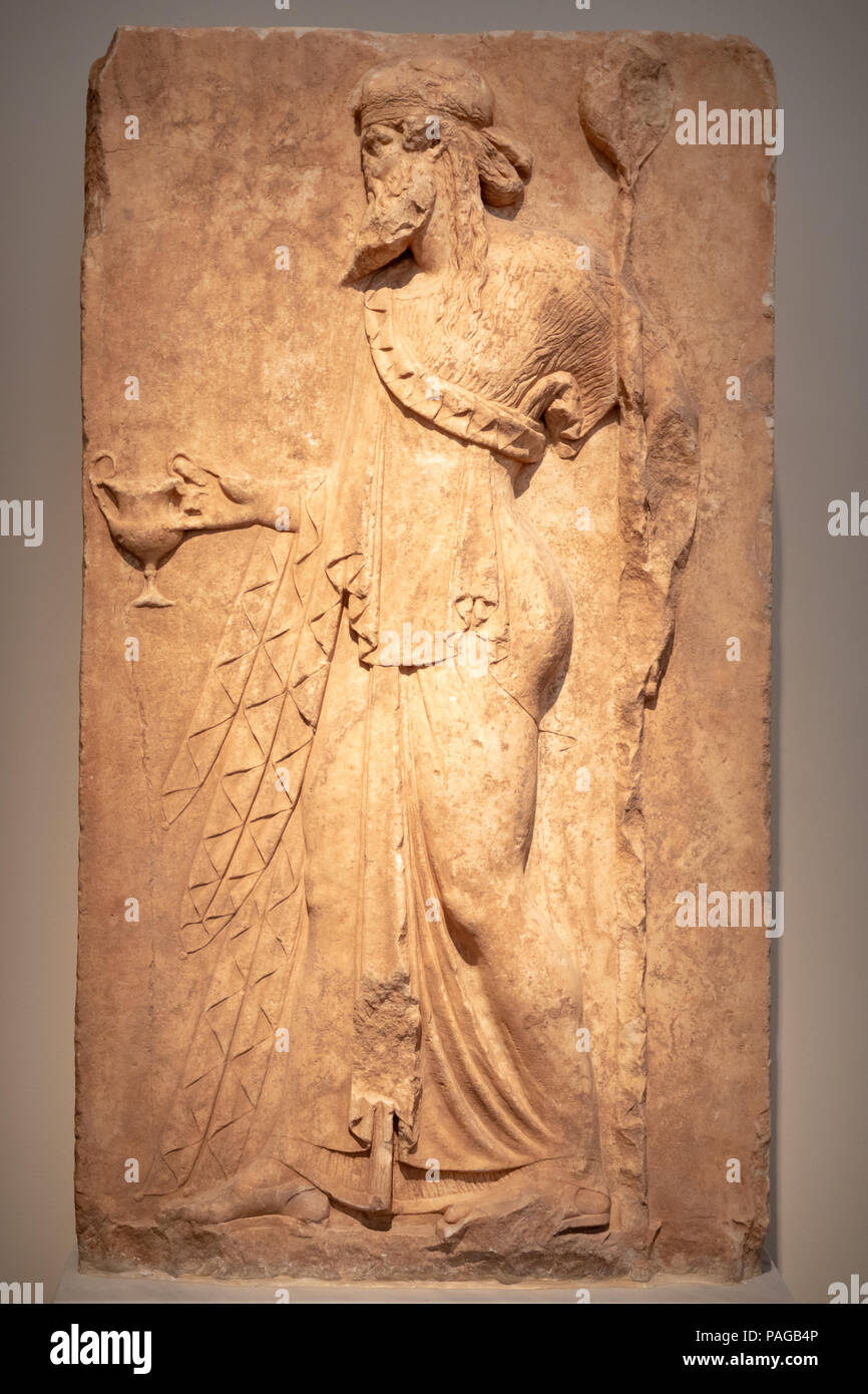 Neo-Attic Relief of Dionysus (God of Wine), Archaic Relief Style, Found Attica, 1st Century BC. Stock Photo