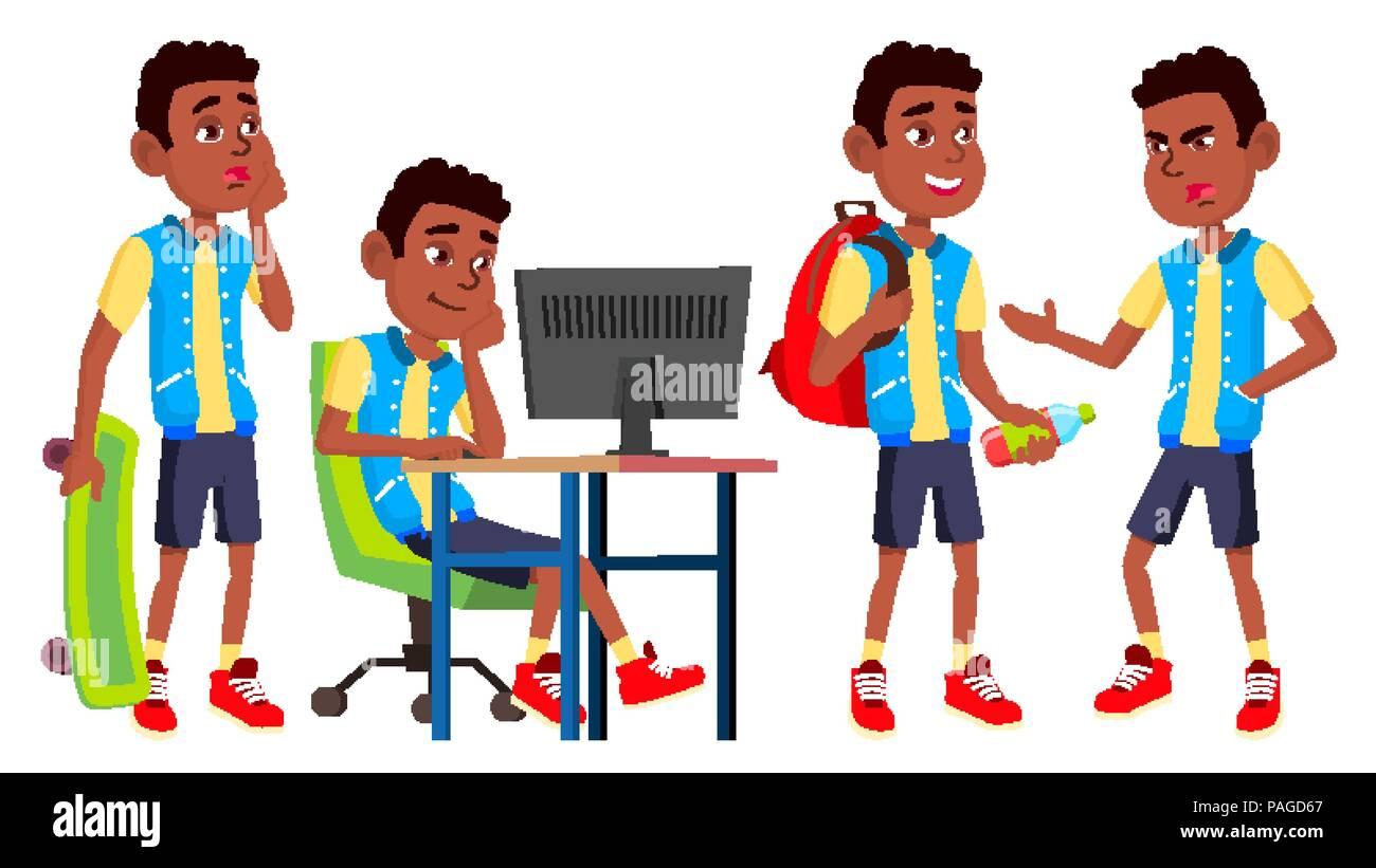 Boy Schoolboy Kid Poses Set Vector. High School Child. Schoolchild. Black. Afro American. September, Schoolchildren, Teen. For Web, Poster, Booklet Design. Isolated Cartoon Illustration - Stock Vector