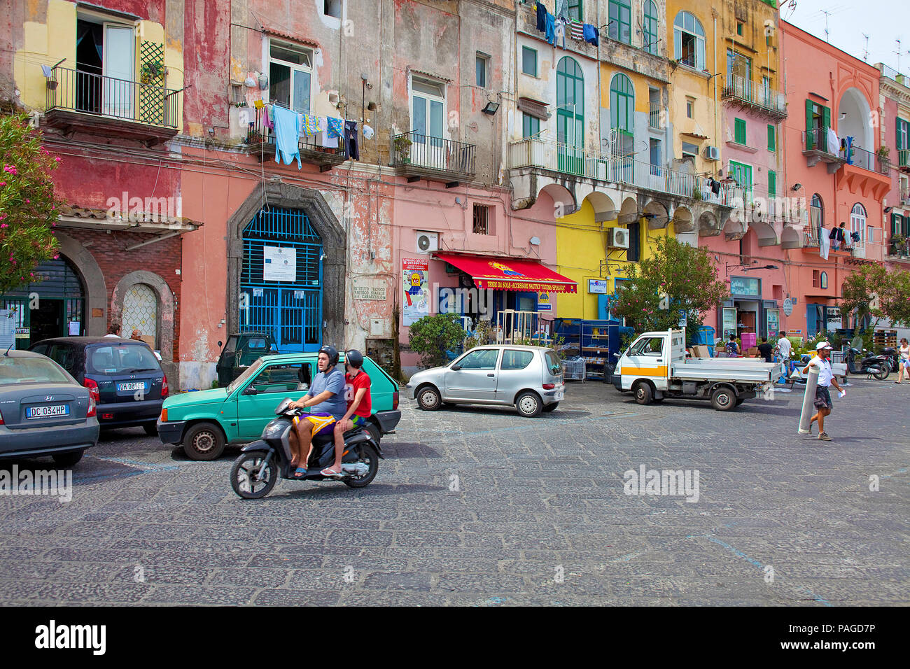 Colourful fishermen's houses at Marina Grande, Procida island, Gulf of Naples, Italy Stock Photo