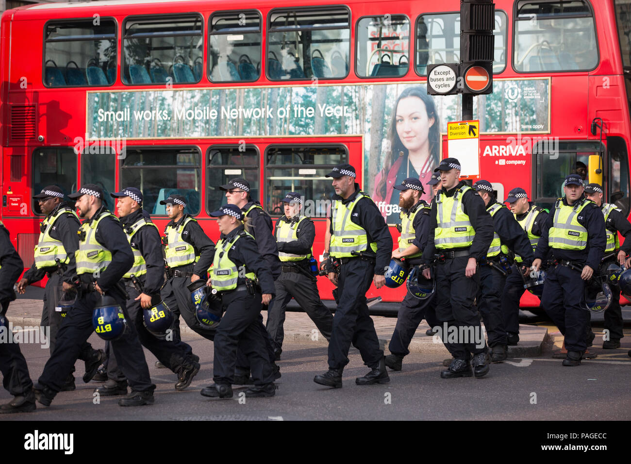 English Defence League supporters attend a rally in Whitehall where there were clashes with counter protesters from anti-fascist organisations, UK - Stock Image