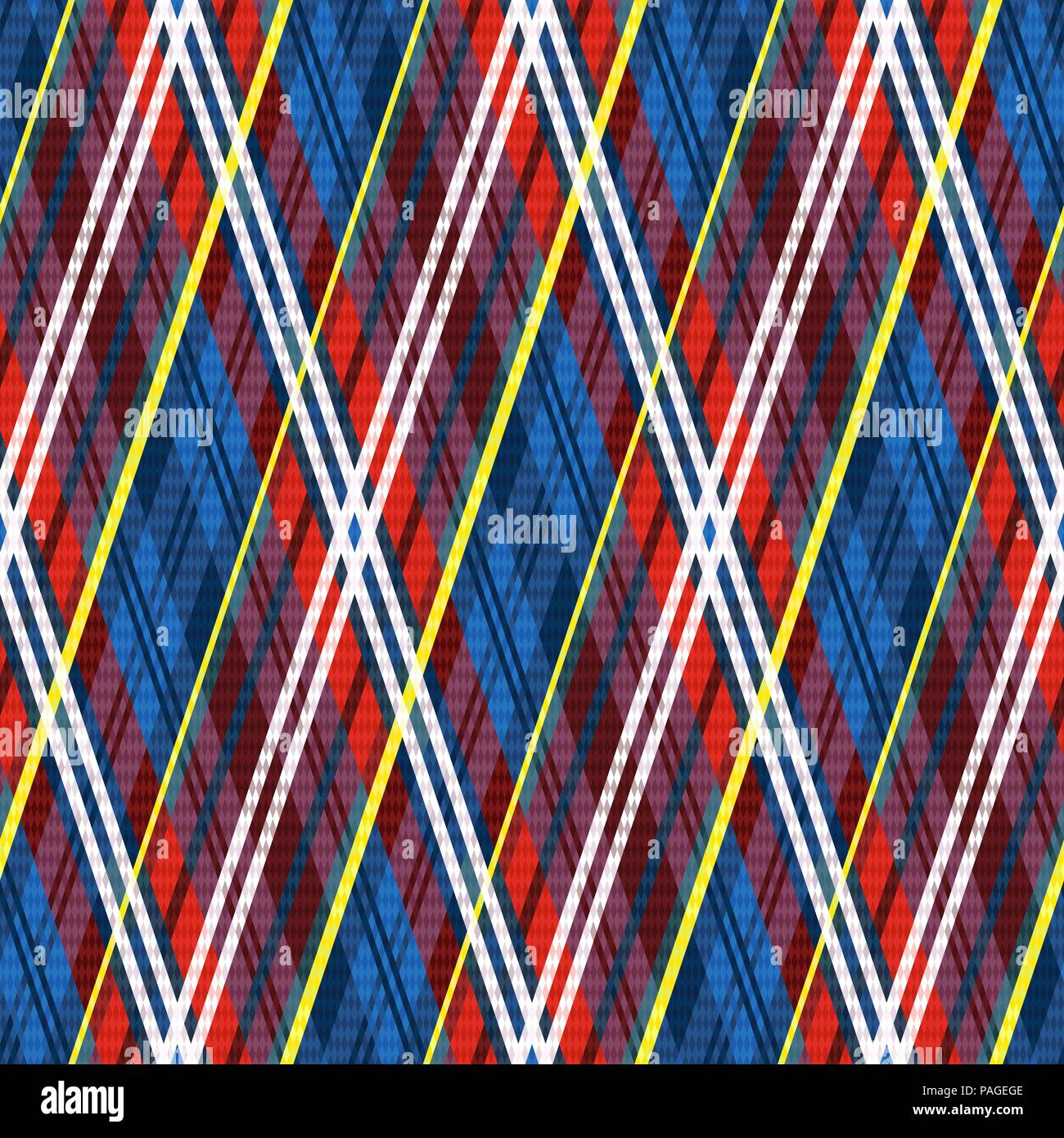Seamless with rhombic pattern in multicolor mainly in red and blue hues, vector as a fabric texture - Stock Vector