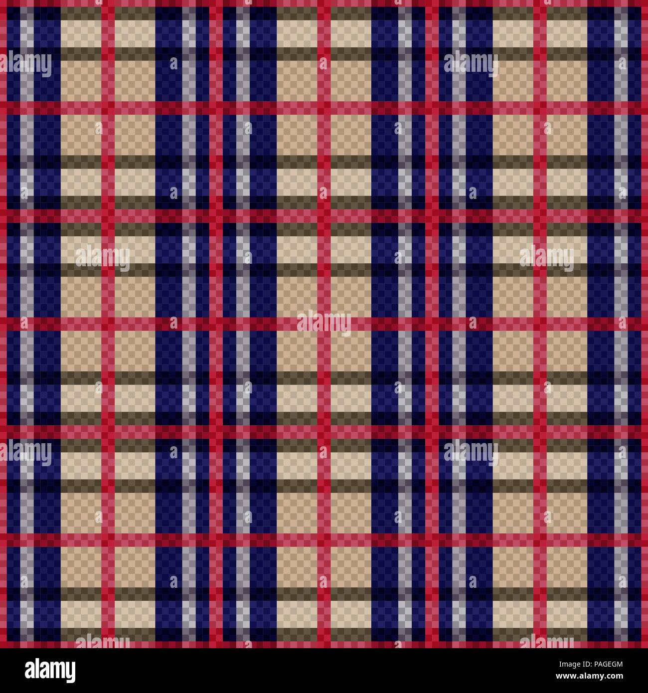 Seamless checkered pattern with red, blue, khaki and grey lines on the beige background, vector as a fabric texture - Stock Vector