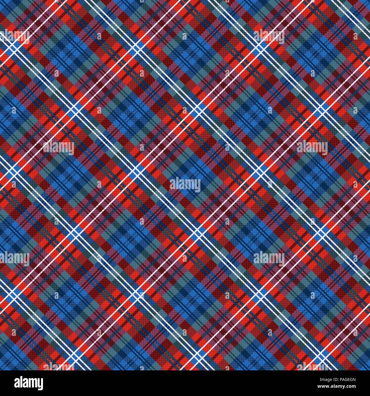 Seamless diagonal multicolor pattern mainly in red and blue hues, vector as a fabric texture - Stock Vector