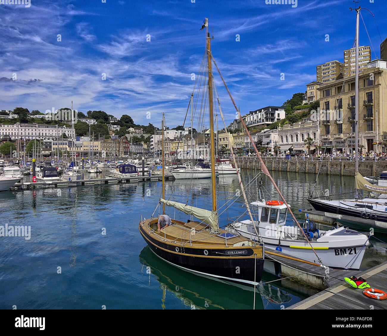 GB - DEVON: The busy inner harbour at Torquay (HDR Image) - Stock Image