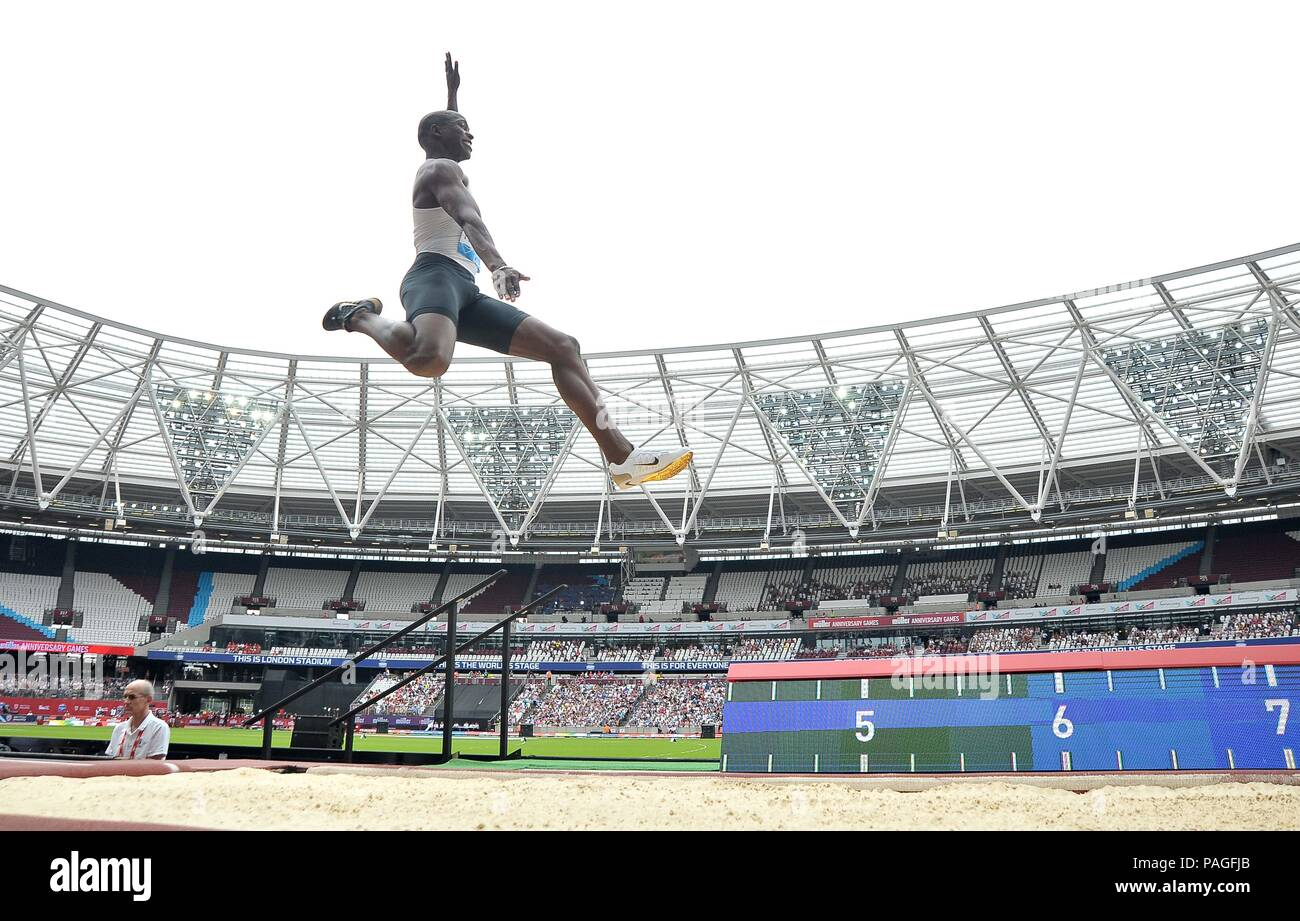 London, UK. 22nd July, 2018. Luvo Manyonga (RSA) in the mens long jump. Muller Anniversary Games. IAAF Diamond League. Olympic Stadium. Queen Elizabeth Olympic Park. Stratford. London. UK. 22/07/2018. Credit: Sport In Pictures/Alamy Live News - Stock Image