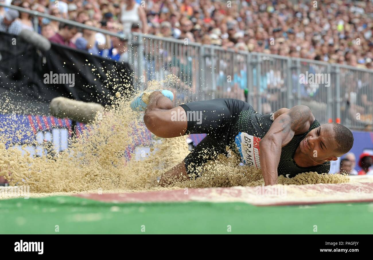 London, UK. 22nd July, 2018. Dan Bramble (GBR) in the mens log jump. Muller Anniversary Games. IAAF Diamond League. Olympic Stadium. Queen Elizabeth Olympic Park. Stratford. London. UK. 22/07/2018. Credit: Sport In Pictures/Alamy Live News - Stock Image