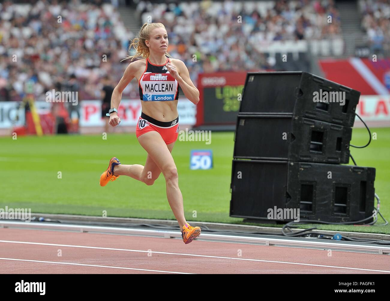 London, UK. 22nd July, 2018. Heather Maclean (USA) in the womens 800m. Muller Anniversary Games. IAAF Diamond League. Olympic Stadium. Queen Elizabeth Olympic Park. Stratford. London. UK. 22/07/2018. Credit: Sport In Pictures/Alamy Live News - Stock Image
