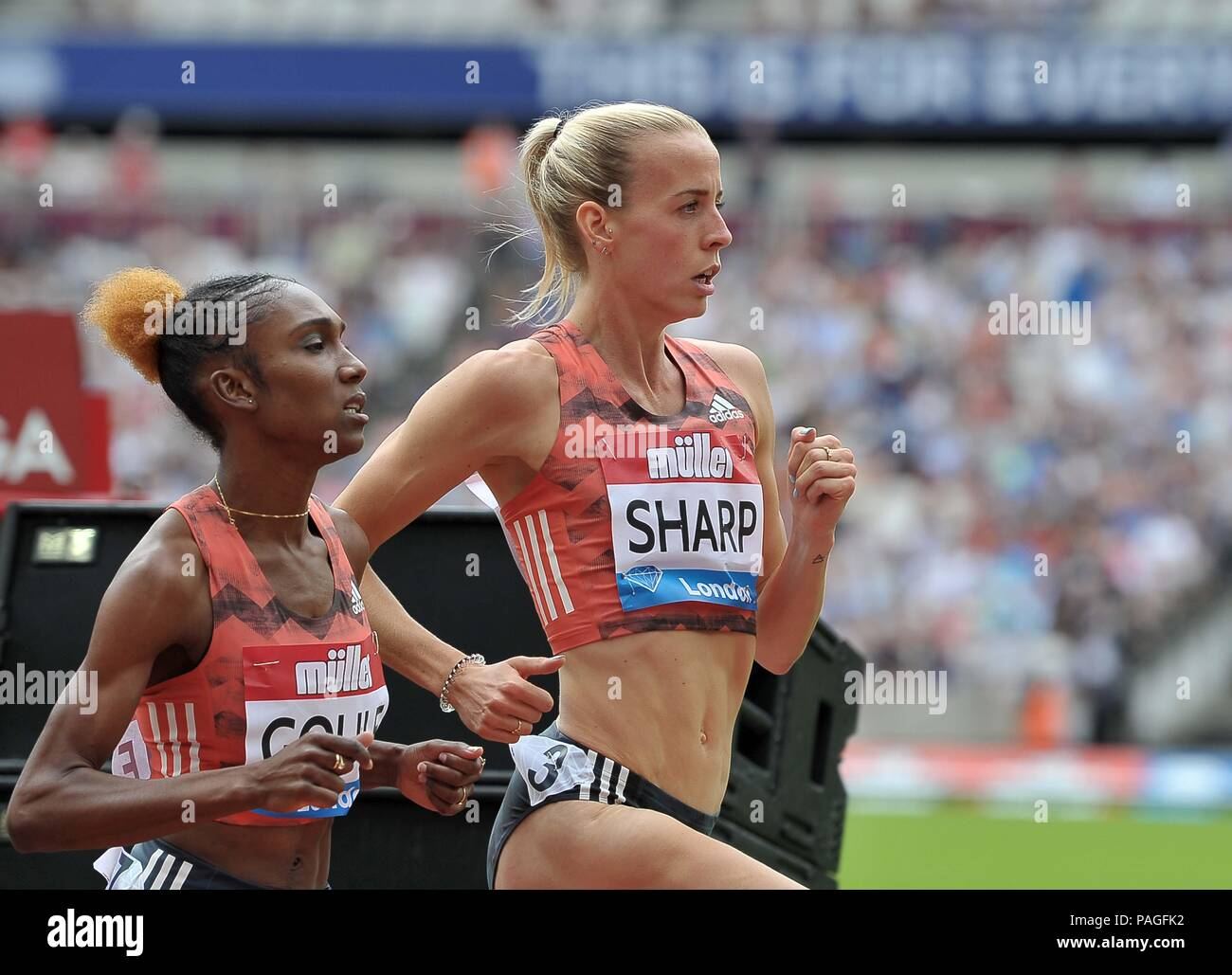 London, UK. 22nd July, 2018. Lynsey Sharp (GBR) in the womens 800m. Muller Anniversary Games. IAAF Diamond League. Olympic Stadium. Queen Elizabeth Olympic Park. Stratford. London. UK. 22/07/2018. Credit: Sport In Pictures/Alamy Live News - Stock Image