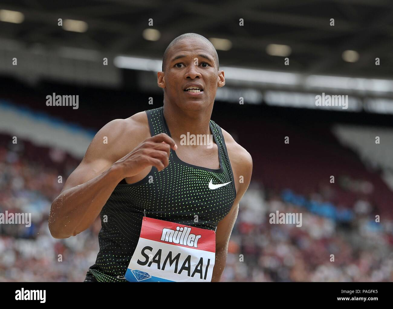 London, UK. 22nd July, 2018. Ruswahi Samaai (RSA) in the mens log jump. Muller Anniversary Games. IAAF Diamond League. Olympic Stadium. Queen Elizabeth Olympic Park. Stratford. London. UK. 22/07/2018. Credit: Sport In Pictures/Alamy Live News - Stock Image