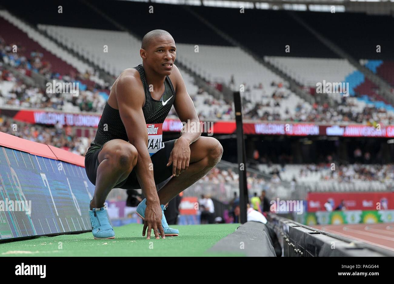 London, UK. 22nd July, 2018. Ruswahl Samaai (RSA) in the mens long jump. Muller Anniversary Games. IAAF Diamond League. Olympic Stadium. Queen Elizabeth Olympic Park. Stratford. London. UK. 22/07/2018. Credit: Sport In Pictures/Alamy Live News - Stock Image