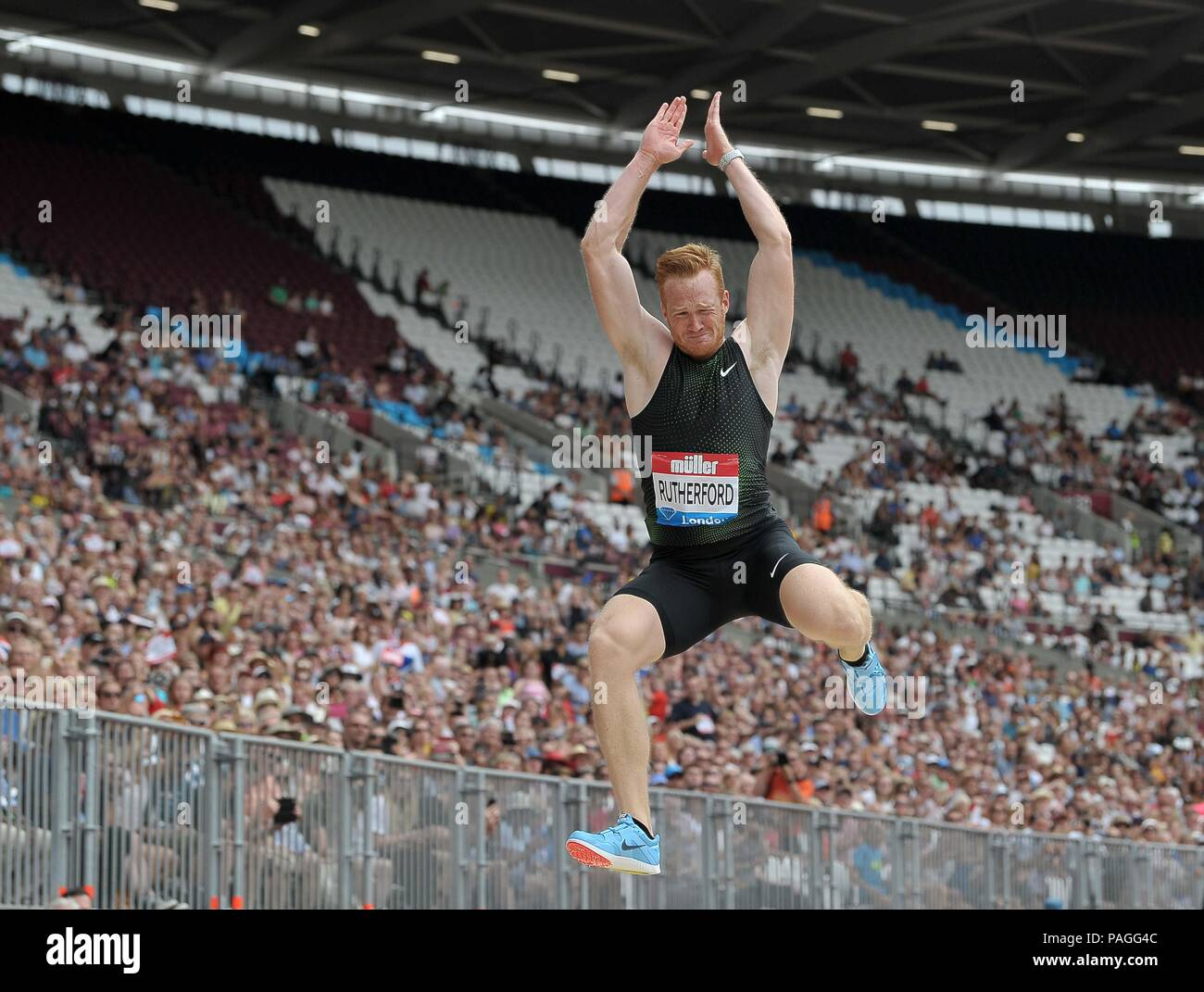 London, UK. 22nd July, 2018. Greg Rutherford (GBR) in the mens long jump. Muller Anniversary Games. IAAF Diamond League. Olympic Stadium. Queen Elizabeth Olympic Park. Stratford. London. UK. 22/07/2018. Credit: Sport In Pictures/Alamy Live News - Stock Image
