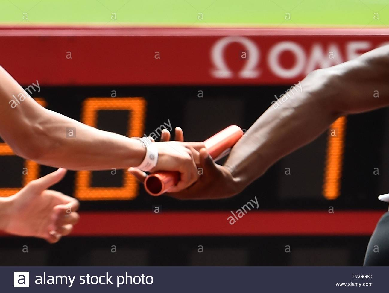 London, UK. 22nd July, 2018. 22.07.2018 IAAF Diamond League Muller Anniversary Games Queen Elizabeth Olympic Park London UK Mens 4X100m baton change Credit: Leo Mason sports photos/Alamy Live News - Stock Image