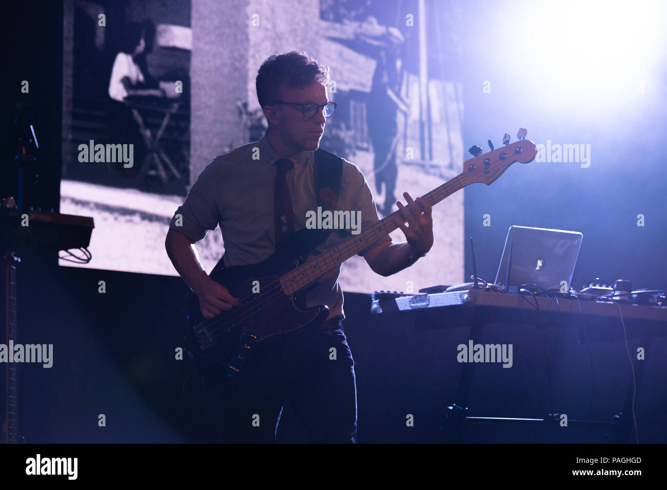 Larmer Tree Festival , UK, date 22th, July, 2018, Public Service Broadcasting on the main Stage at Larmer Tree festival, Credit: Guy Peterson. - Stock Image