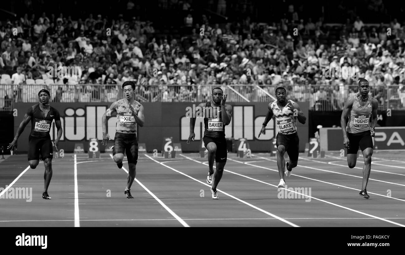 Men's 100m Final at the IAAF Diamond League, Muller Anniversary Games, Queen Elizabeth Olympic, LONDON, UK 21 July 2018 - Stock Image