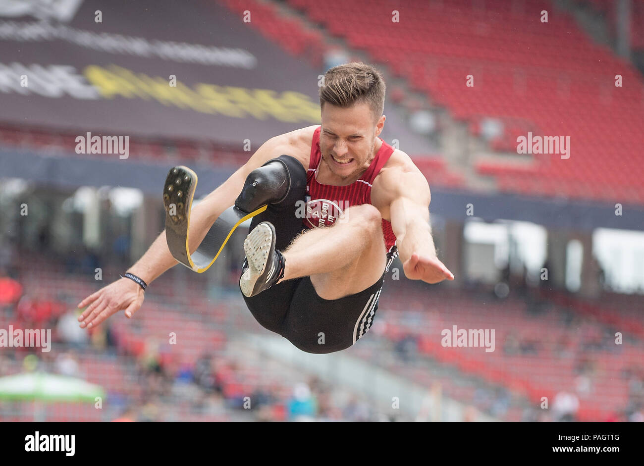 Winner Markus REHM, TSV Bayer 04 Leverkusen, 1st place, action, final long jump T44 of the men on 21.07.2018. German Athletics Championships 2018, from 20.07. - 22.07.2018 in Nuernberg/Germany. | usage worldwide - Stock Image