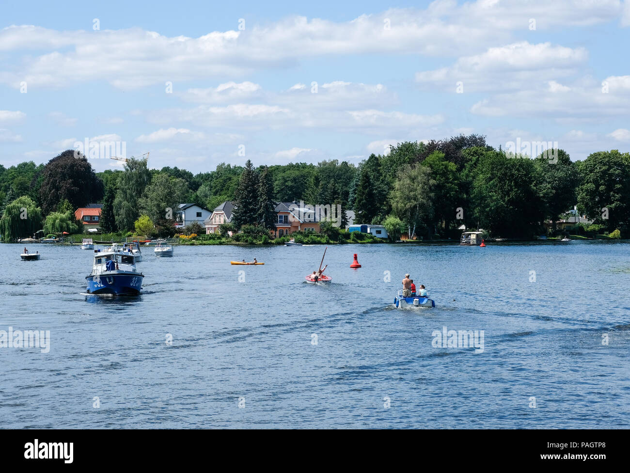 Berlin Germany 15th July 2018 Boats Cruise Around The Small How To Wire A Boat Mueggelsee Lake No Service Credit Jens Kalaene Dpa Zentralbild Alamy Live News