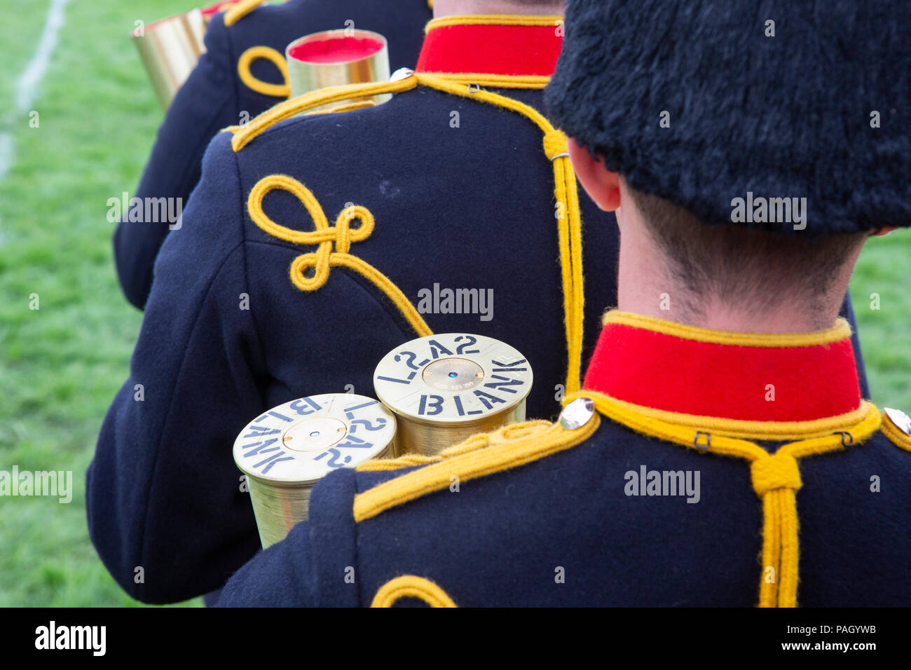 The Kings Troop RHA, carrying blank shells, perform at the Royal Welsh Show. Use for illustration of impotency / low sperm count / firing blanks - Stock Image