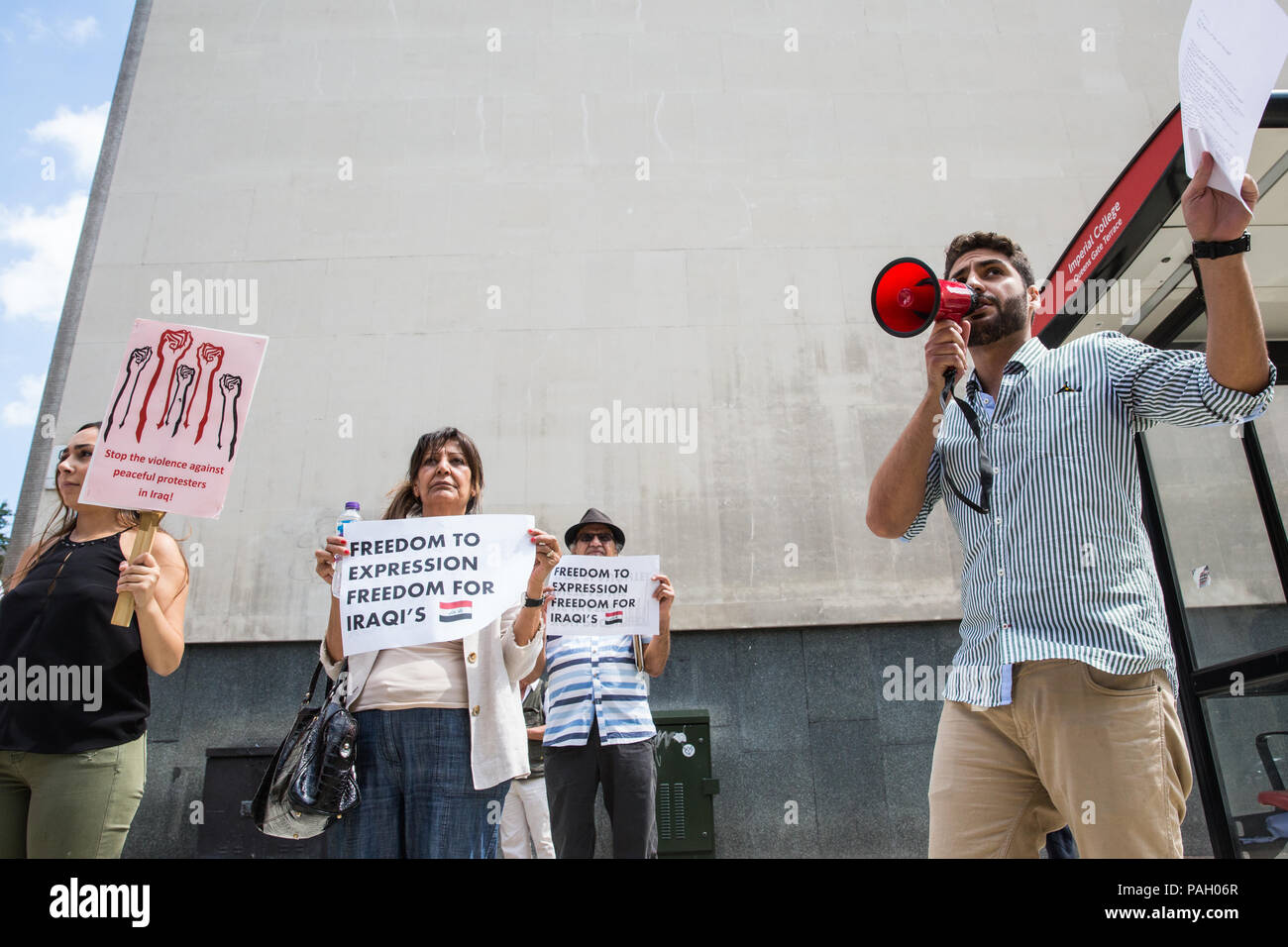 London, UK. 23rd July, 2018. Members of the Iraqi community with no particular political, religious or tribal affiliation protest outside the Iraqi embassy to draw attention to the Iraqi government's brutal handling of recent protests in Iraq to demand better employment, public services, education, electricity and other rights. Credit: Mark Kerrison/Alamy Live News Stock Photo
