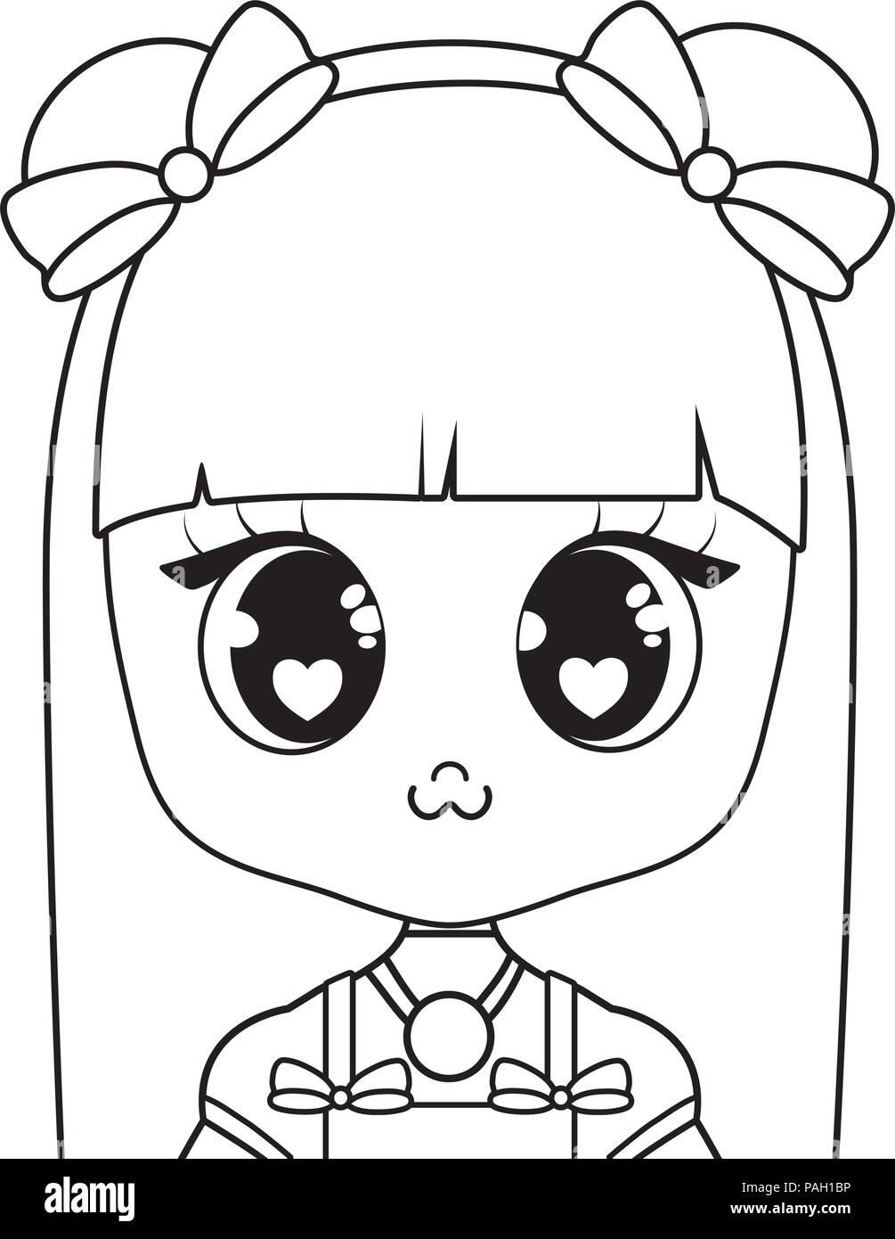 Anime Girl Character Over White Background Vector Illustration
