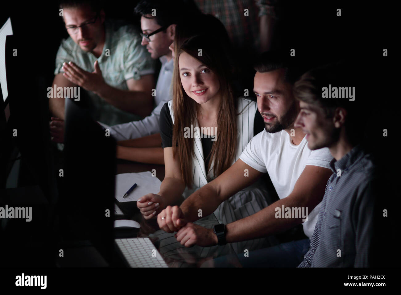 creative business team works overtime - Stock Image