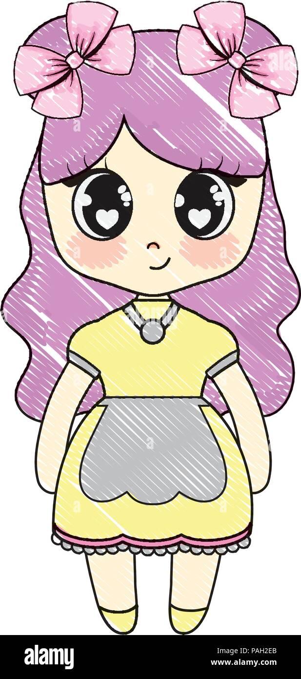 kawaii anime girl icon over white background, vector illustration