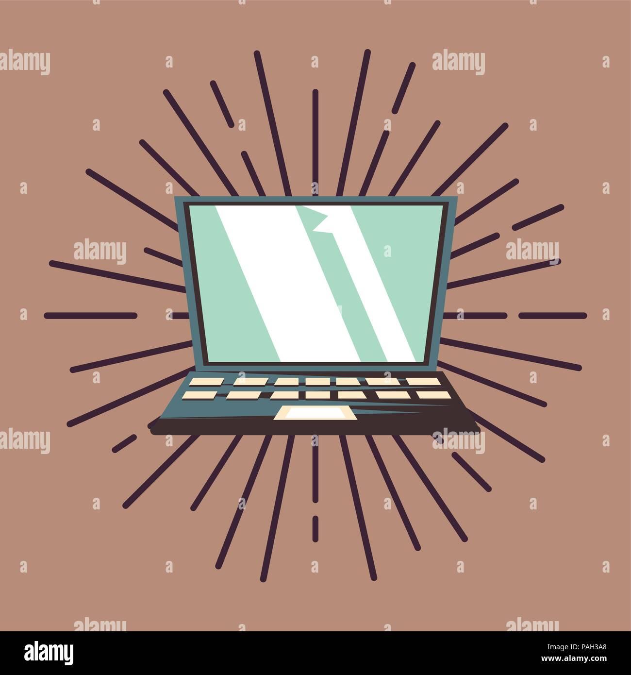 laptop keyboard on vintage retro background vector illustration - Stock Image