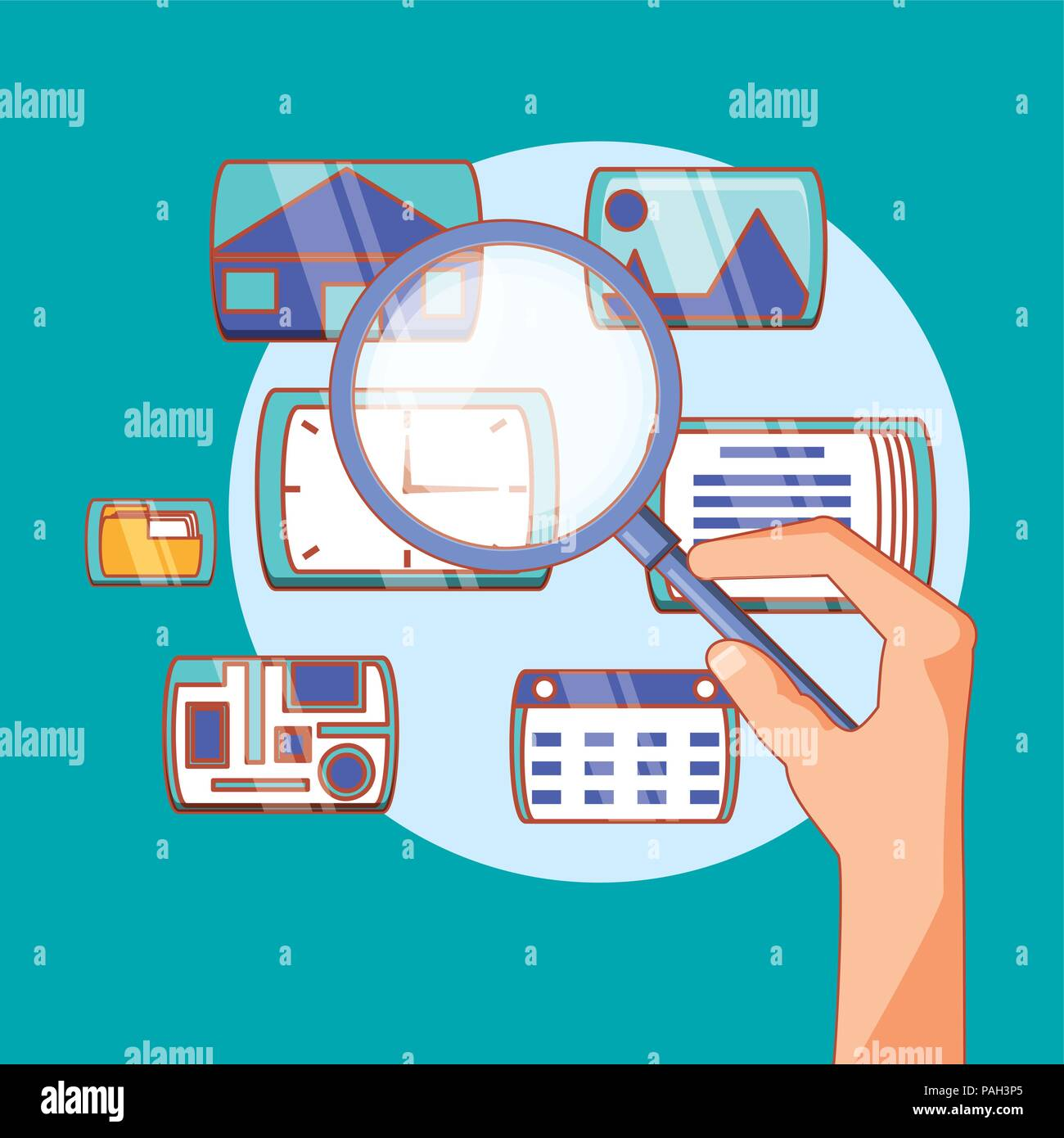 hand holding magnifying glass social media applications vector illustration Stock Vector