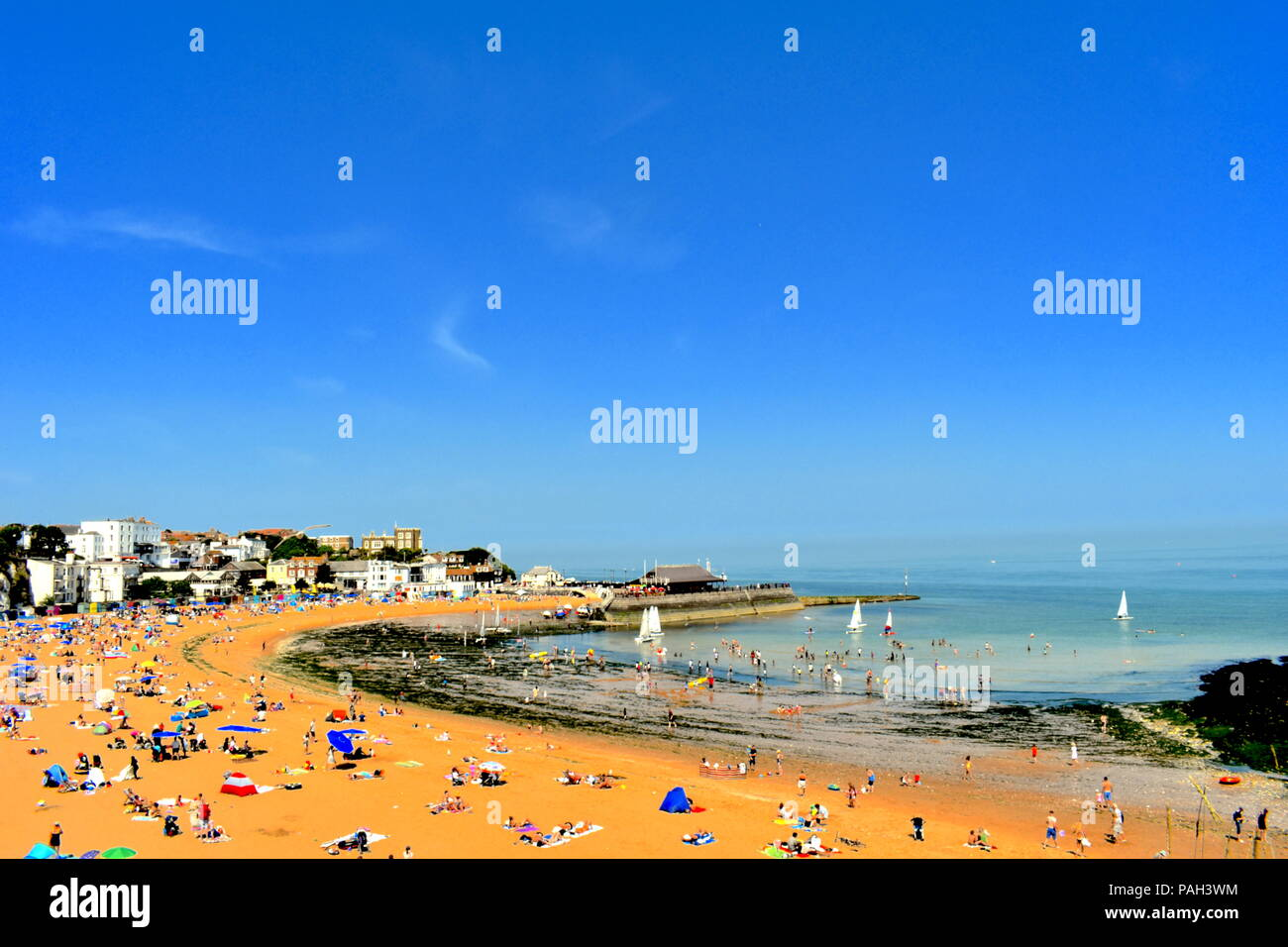 People on the beach in Broadstairs, Kent as the hot weather continues across the UK, July, 2018 - Stock Image