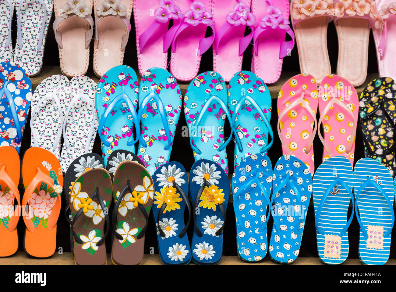 Sale of slippers in the local market