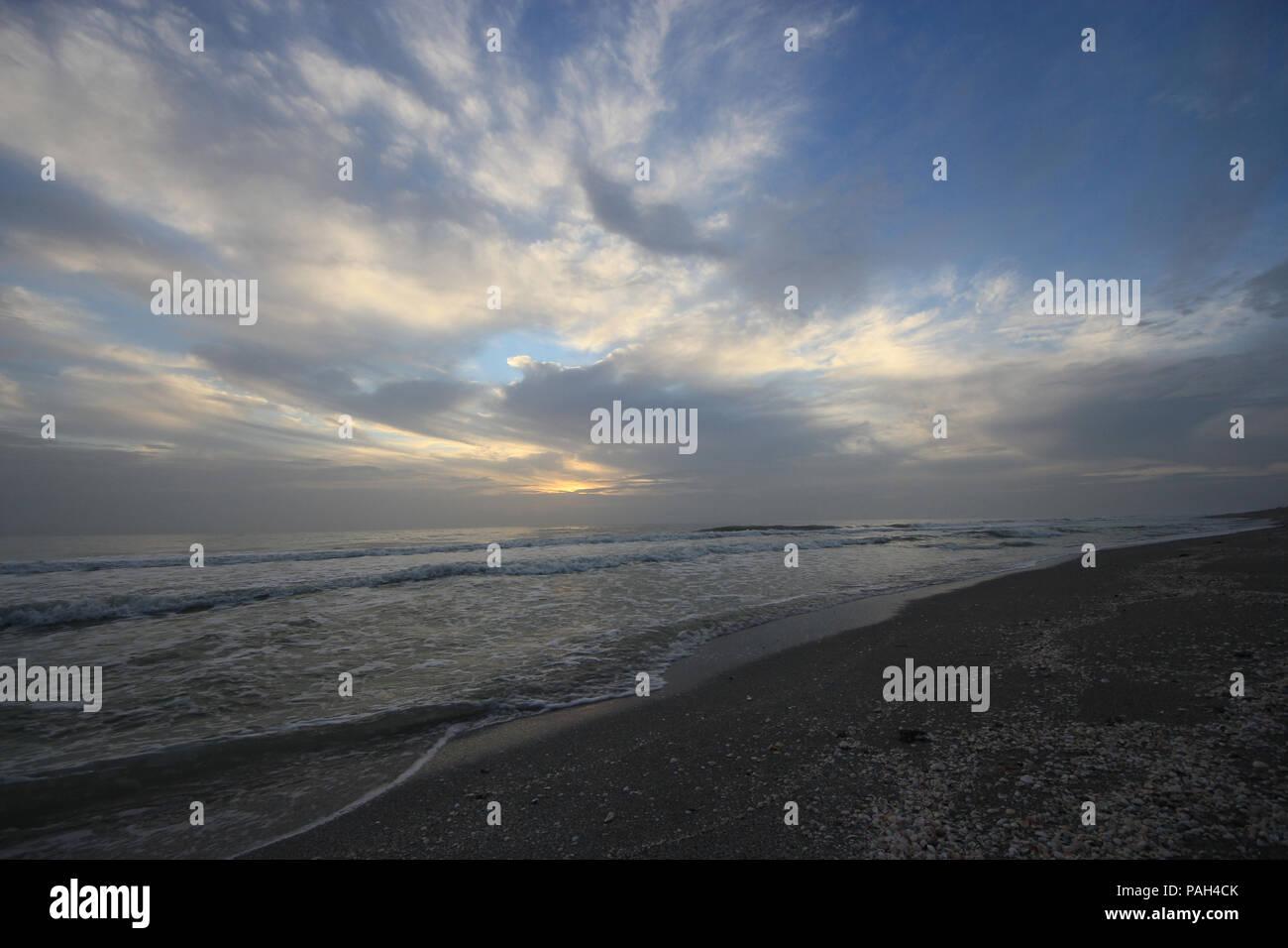Sunset over the Gulf of Mexico on Captiva Island off Florida's west coast, United States. Stock Photo