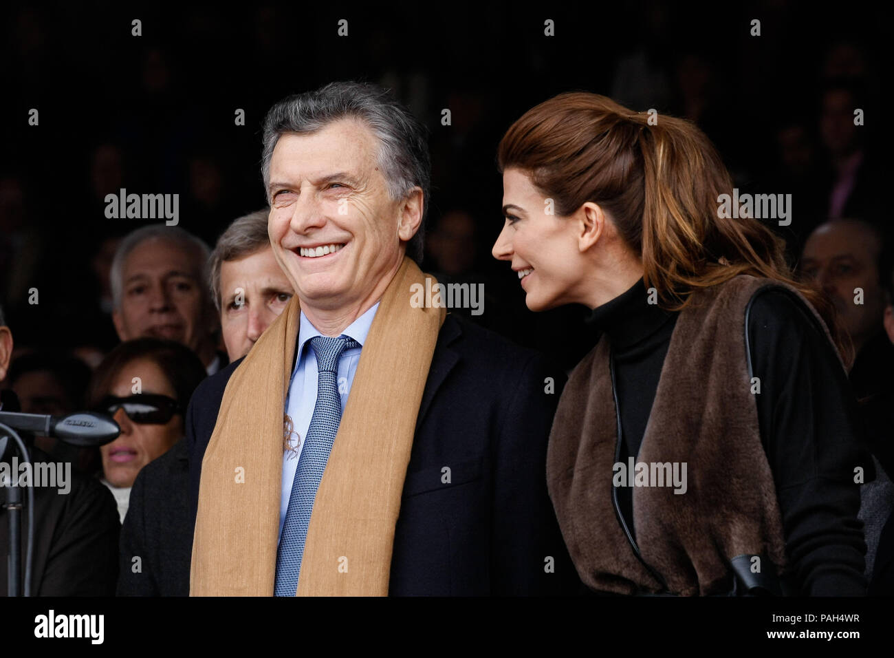 Buenos Aires, Argentina. 30th July, 2016. Argentina President, Mauricio Macri, and his wife, Juliana Awada, at the Inauguration of the Sociedad Rural. - Stock Image