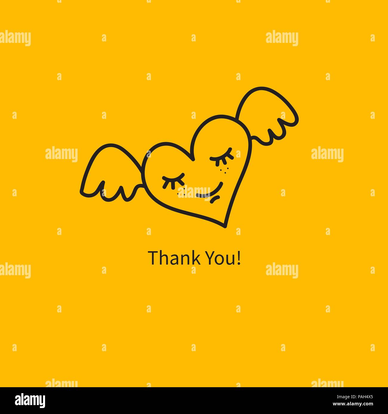 Heart With Wings Smiling Heart Thank You Card Gratitude Banner Thank You Sticker Smiley Heart Vector Illustration Stock Vector Image Art Alamy