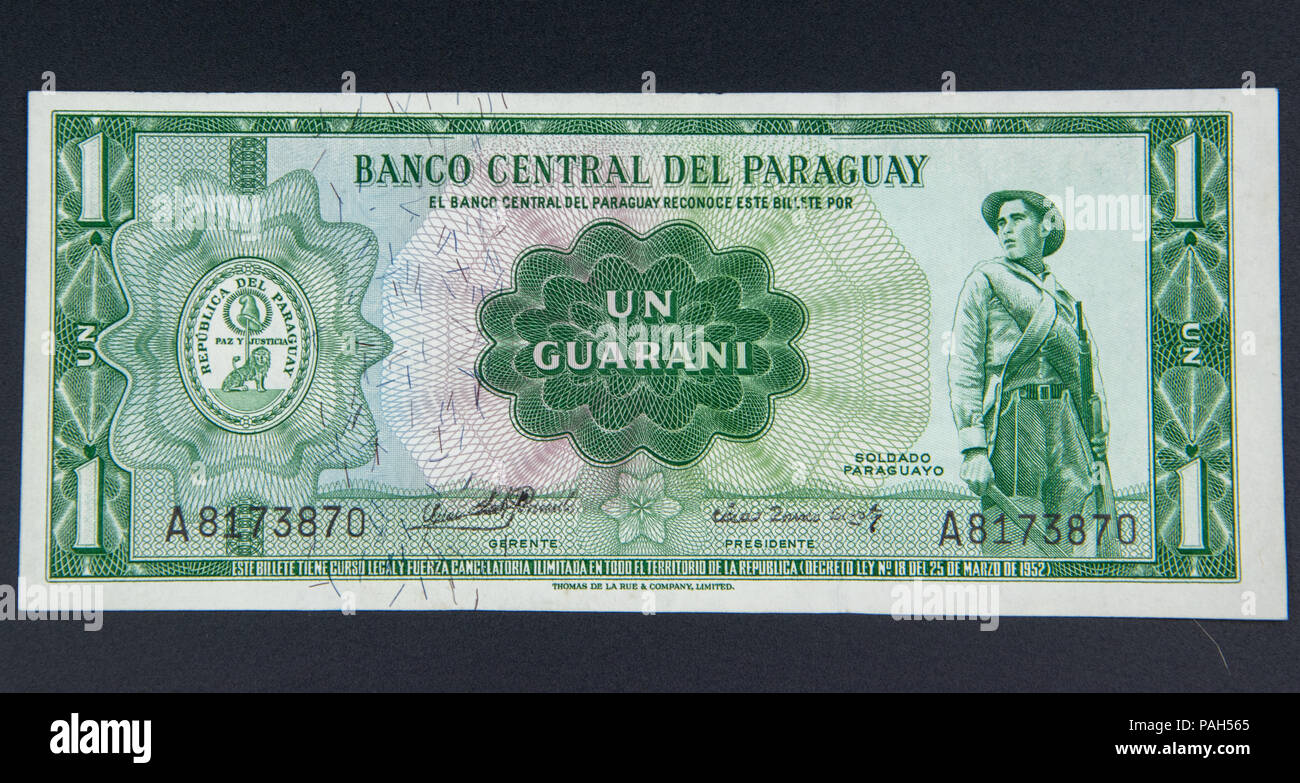 1 Guarani, the legal tender of Paraguay amd the oldest legal tender in South America - Stock Image