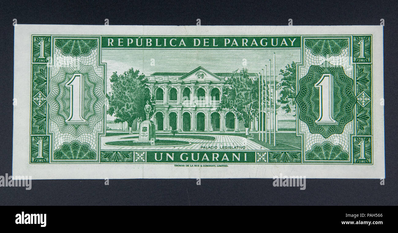 1 Guarani, the legal tender of Paraguay amd the oldest legal tender in South America Stock Photo